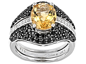 Yellow Citrine Rhodium Over Sterling Silver Ring Set Of 2 3.56ctw