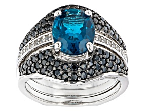 London Blue Topaz Rhodium Over Sterling Silver Ring Set of 2 4.39ctw