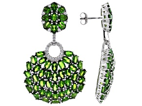 Green Chrome Diopside Rhodium Over Sterling Silver Earrings 23.37ctw