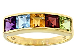 Multi Gemstone 10k Yellow Gold Ring 1.53ctw