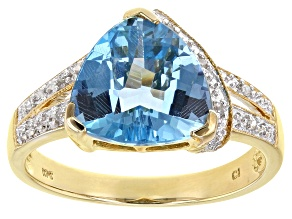 Swiss Blue Topaz 10k Yellow Gold Ring  3.43ctw