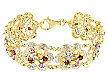 Picture of Multi Gemstone 18k Yellow Gold Over Sterling Silver Bracelet 14.00ctw