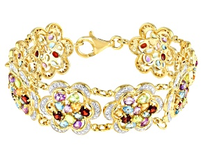 Multi Gemstone 18k Yellow Gold Over Sterling Silver Bracelet 14.00ctw