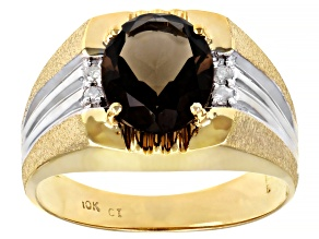 Smoky Quartz 10k Yellow Gold Ring 3.14ctw