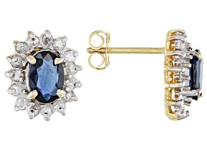 Sapphire 14k Yellow Gold Stud Earrings 1.87ctw