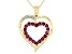 Red Ruby 10k Yellow Gold Heart Pendant with Chain 0.64ctw