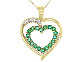 Green Emerald 10k Yellow Gold Heart Pendant with Chain