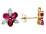 Red Ruby 10k Yellow Gold Stud Earrings 1.47ctw