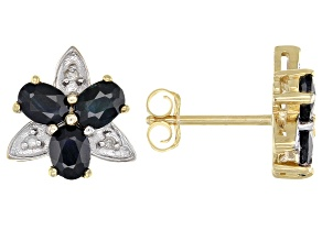 Blue Sapphire 10k Yellow Gold Stud Earrings 1.42ctw