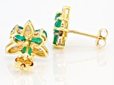 Green Emerald 10k Yellow Gold Stud Earrings 0.93ctw
