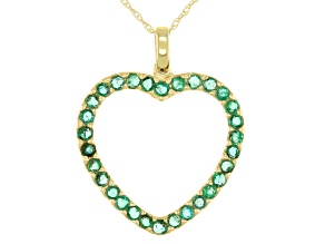 "Green Emerald  10k Yellow Gold Heart Pendant With Chain 1.00""W."