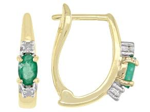 Green Emerald 14k Yellow Gold Earrings 0.50ctw