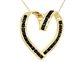 Blue Sapphire 14k Yellow Gold Heart Pendant with Chain 0.87ctw