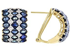 Blue Sapphire 14k Yellow Gold Earrings 9.61ctw