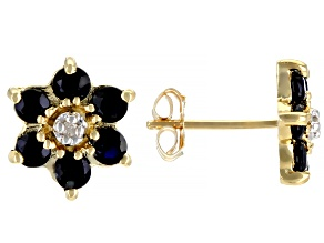 Blue Sapphire 10k Yellow Gold Stud Earrings 1.40ctw