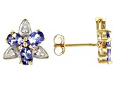 Blue Tanzanite 10k Yellow Gold Stud Earrings 0.91ctw
