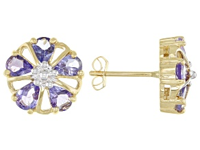 Blue Tanzanite 10k Yellow Gold Floral Stud Earrings 1.19ctw