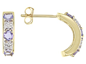 Blue Tanzanite 10k Yellow Gold J-Hoop Earrings 0.49ctw