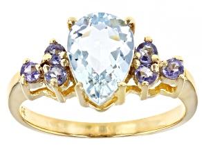 Blue Aquamarine 10k Yellow Gold Ring 1.99ctw