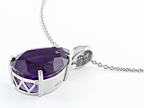 Purple Amethyst Rhodium Over Sterling Silver Pendant With Chain 10.00ct