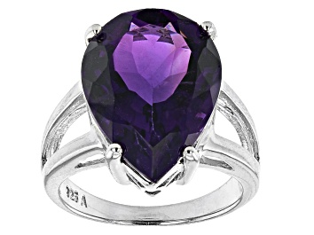 Picture of Purple Amethyst Rhodium Over Sterling Silver Ring 10.00ct