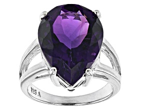 Purple Amethyst Rhodium Over Sterling Silver Ring 10.00ct