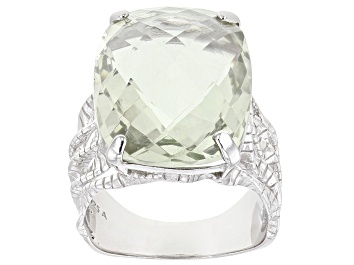 Picture of Green Prasiolite rhodium over sterling silver ring 15.00ct