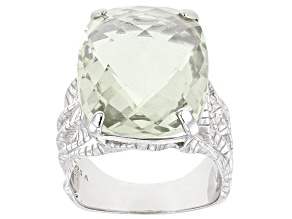 Green Amethyst rhodium over sterling silver ring 15.00ct