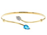 Swiss Blue Topaz 18k Yellow Gold Over Sterling Silver Cuff Bracelet 1.39ctw