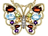 Multi Gemstone 18k Yellow Gold Over Sterling Silver Butterfly Pendant With Chain