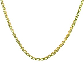 Green Peridot 18k Yellow Gold Over Sterling Silver Necklace 33.32ctw