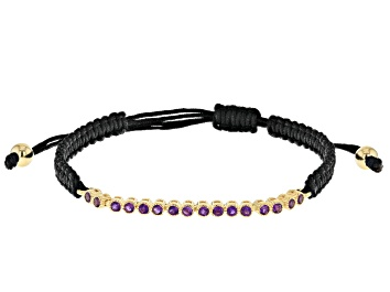 Picture of Purple Amethyst Black Cord 18k Yellow Gold oVer Sterling Silver Bracelet 0.48ctw