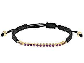 Purple Amethyst Black Cord 18k Yellow Gold oVer Sterling Silver Bracelet 0.48ctw