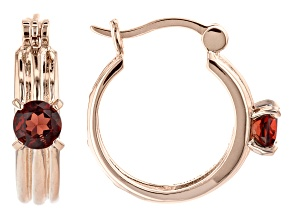 Red Garnet 18k Rose Gold Over Sterling Silver Hoop Earrings 1.20ctw
