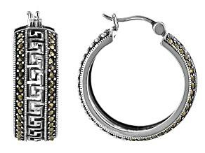 Gray Marcasite Sterling Silver Hoop Earrings