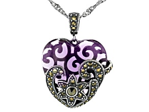 Purple Glass Sterling Silver Heart Pendant With Chain
