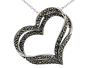 Gray Marcasite Sterling Silver Heart Pendant With Chain