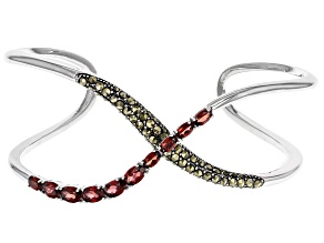 Red Garnet Rhodium Over Sterling Silver Cuff Bracelet 4.20ctw