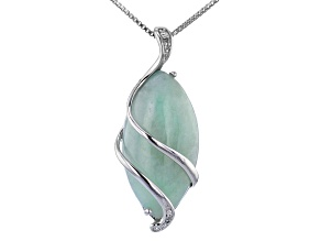 Jadeite Rhodium Over Silver Pendant With Chain
