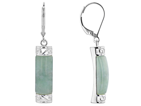 Jadeite Rhodium Over Sterling Silver Earrings