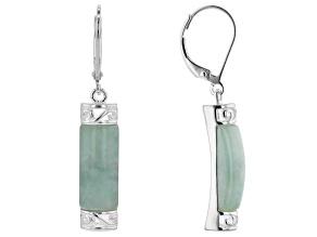 Jadeite Rhodium Over Sterling Silver Earrings