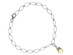 Yellow Lemon Quartz Rhodium Over Sterling Silver Bracelet 1.90ctw