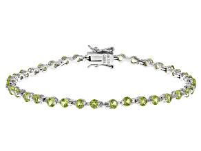 Peridot Rhodium Over Silver Bracelet 4.25ctw