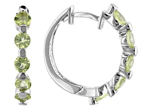 Peridot Rhodium Over Sterling Silver Earrings 1.20ctw