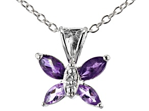 Amethyst Rhodium Over Silver Pendant With Chain .42ctw