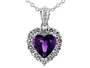 Amethyst Rhodium Over Silver Heart Pendant W/ Chain 2.05ctw