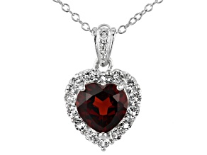 Garnet Rhodium Over Sterling Silver heart Pendant W/ Chain 3.00ctw