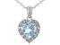 Blue Topaz Rhodium Over Sterling Silver heart  Pendant W/Chain