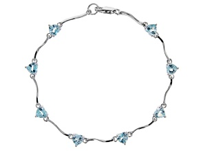 Sky Blue Topaz Rhodium Over Silver Bracelet 4.25ctw