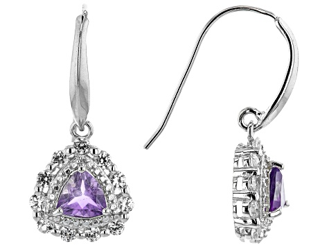 Amethyst Rhodium Over Silver Earrings 1.25ctw